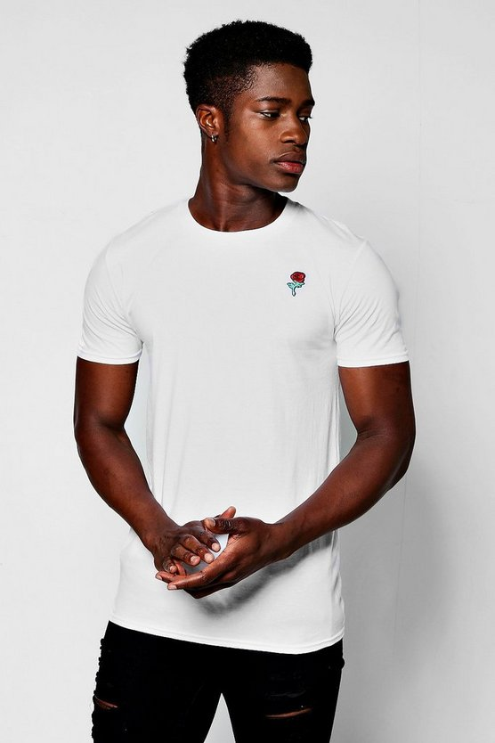 Embroidered Rose Emblem T-Shirt