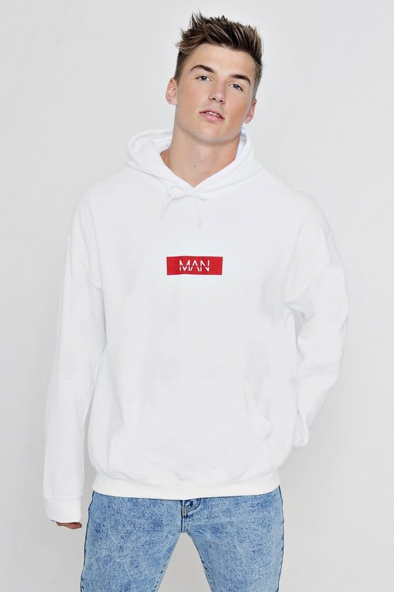 Oversized MAN Red Box Print Hoodie