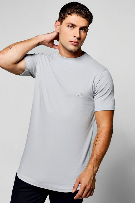 Longline Muscle Fit T-Shirt With Logo