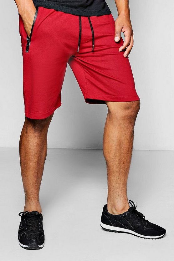 Light Weight Jersey Shorts With Sports Zip