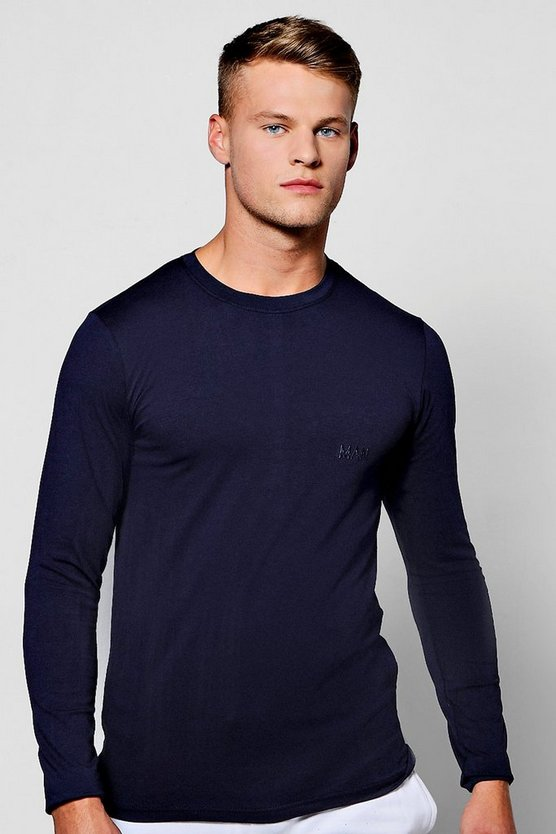 Long Sleeve Muscle Fit T-Shirt With Logo