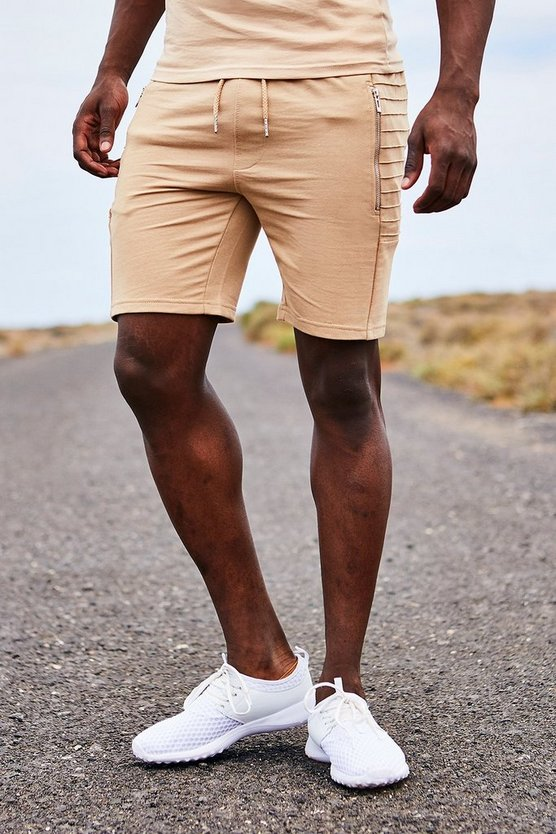 Shorts aus Jersey in Biker-Optik