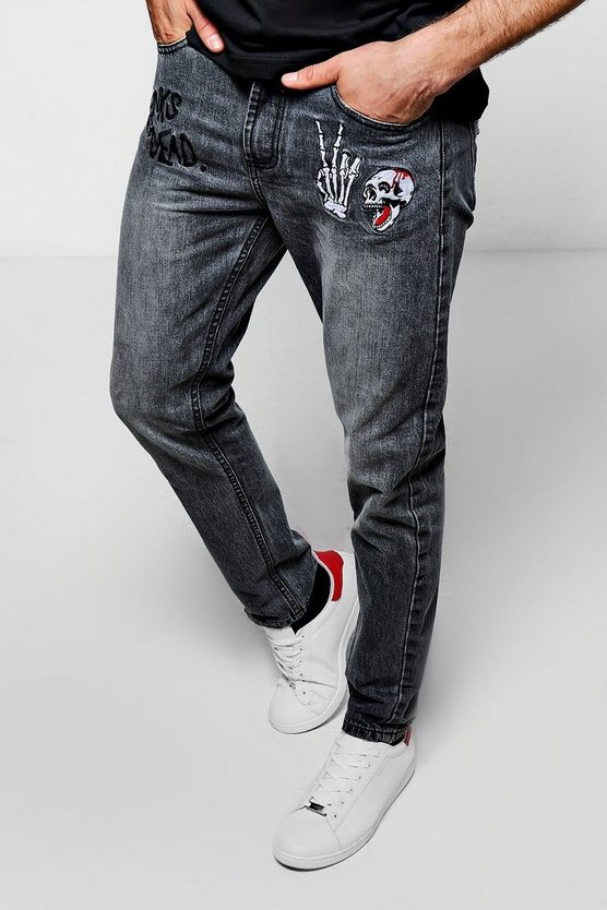 Embroidered Jeans in Skinny Fit