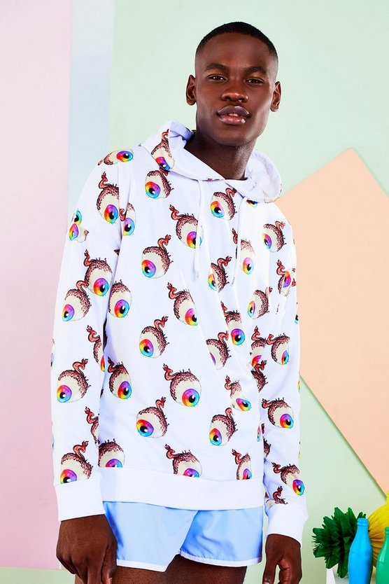 BoohooMAN x Philip Normal Eyeball Print Hoodie
