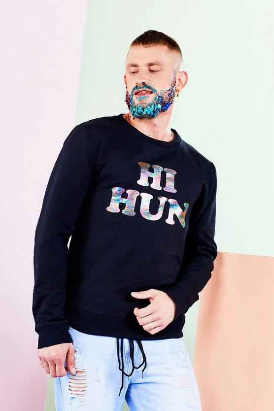 BoohooMAN x Philip Normal Hi Hun Bye Hun Sweater