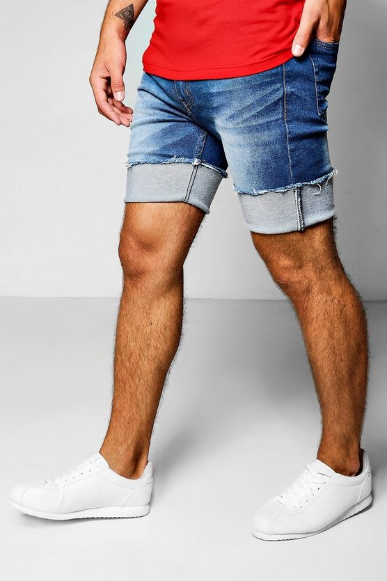 Skinny Fit Denim Shorts with Bucket Turn Up