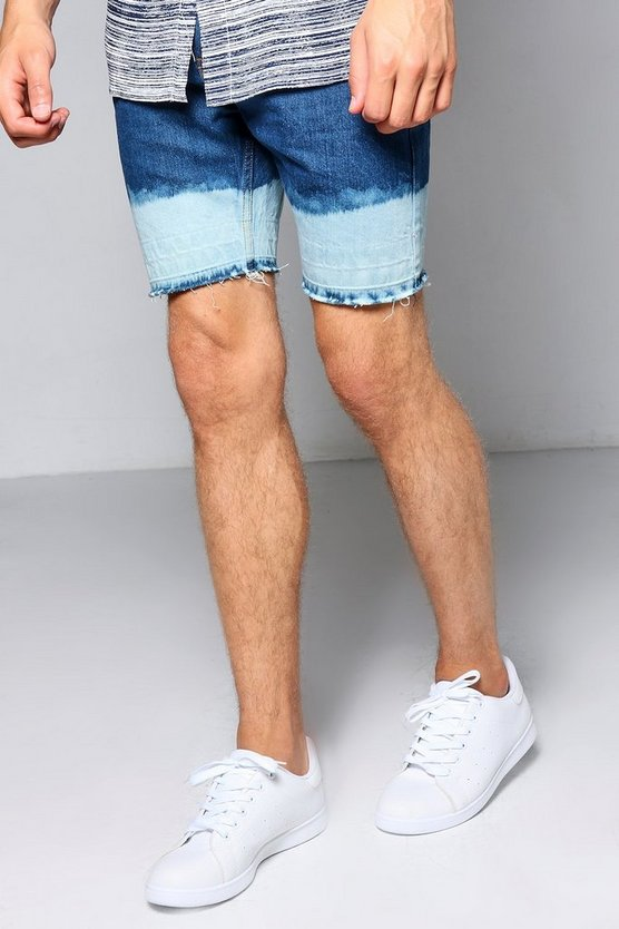 Skinny Fit Denim Shorts with Bleached Hem