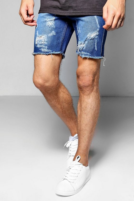 Skinny Fit Denim Shorts With Ripped Hem
