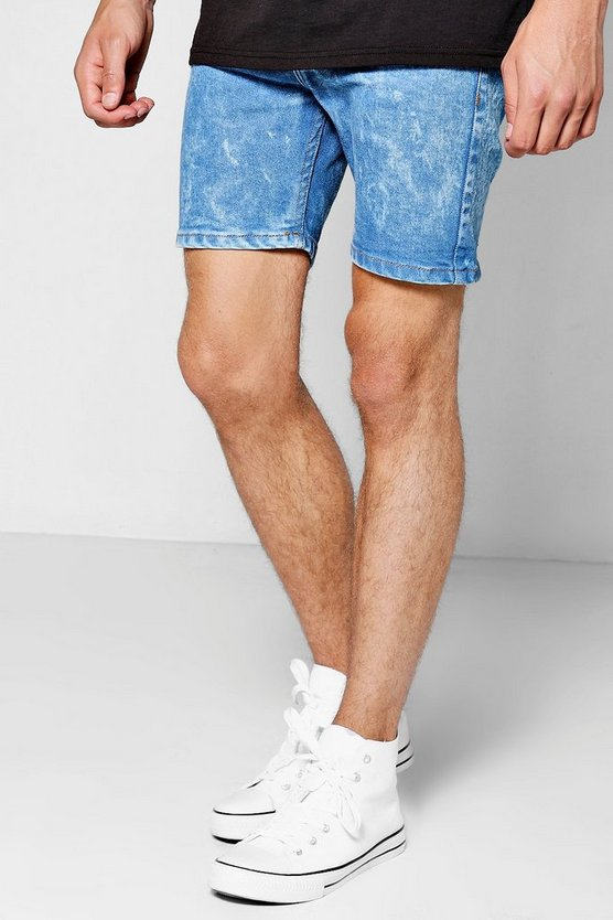 Pale Blue Skinny Fit Bleach Wash Denim Shorts
