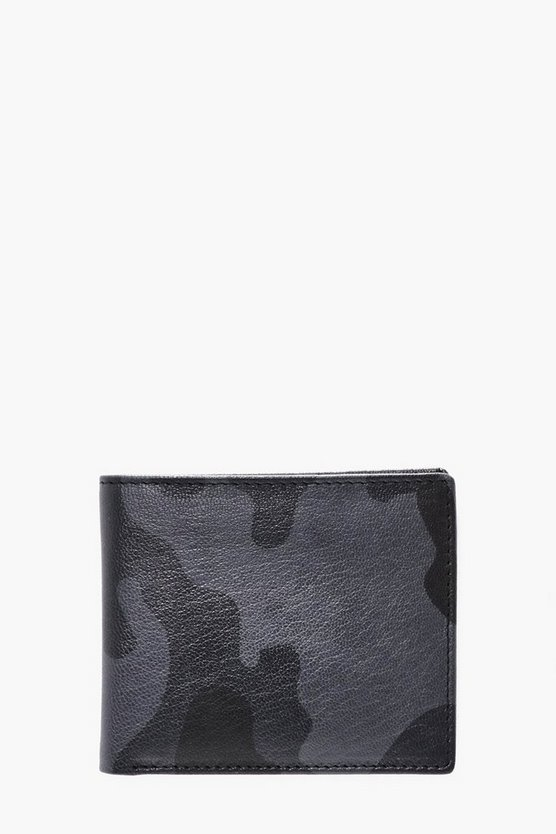 Black Real Leather Camo Print Wallet