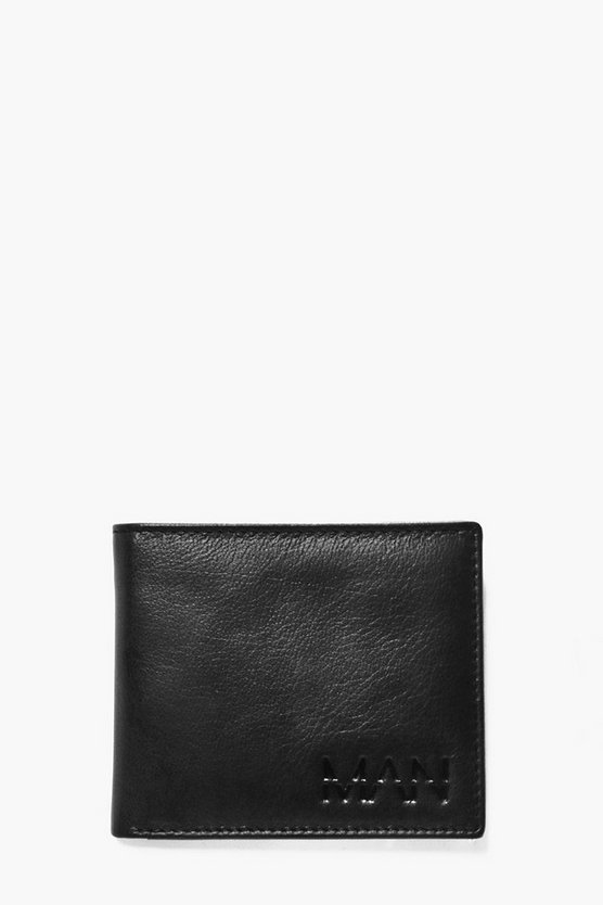 Black Real Leather Man Embossed Wallet