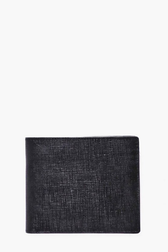 Black Real Leather Textured Wallet