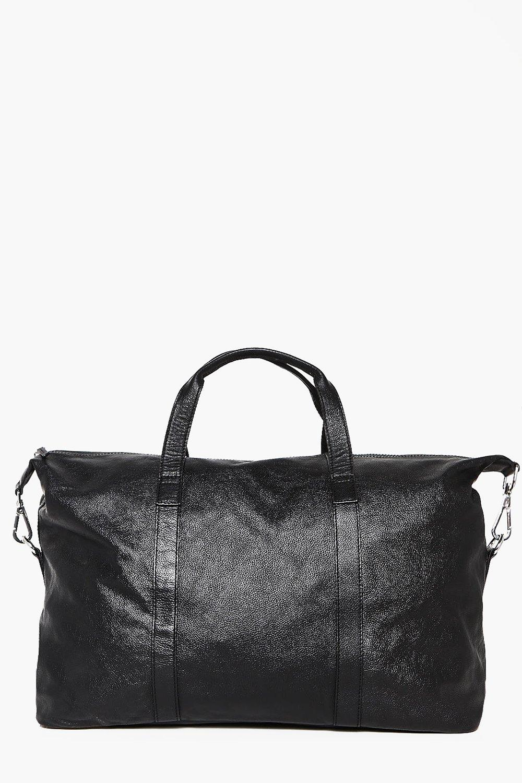 Real Leather Weekender Hold Bag - black - Black Re