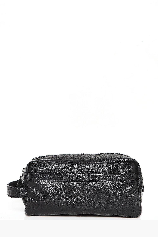 Real Leather Toiletries Bag - black - Black Real L