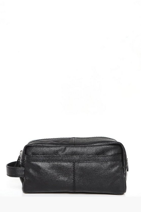 Black Real Leather Toiletries Bag