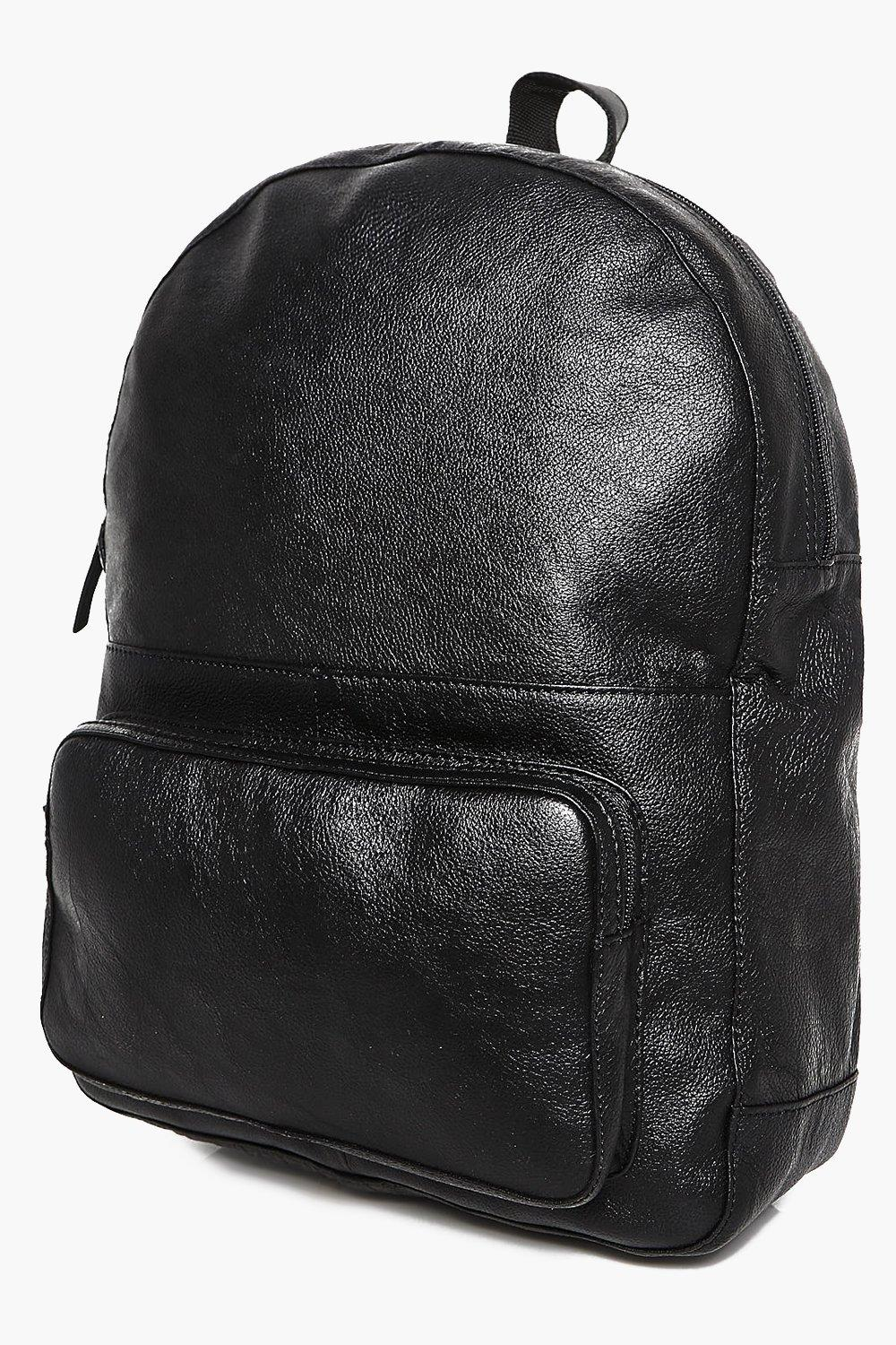 Real Leather Backpack - black - Black Real Leather