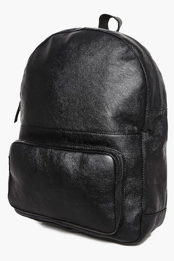 Black Real Leather Backpack