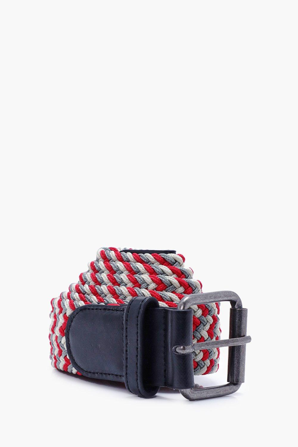 Coloured Plaited Belt - multi - Multi Coloured Pla