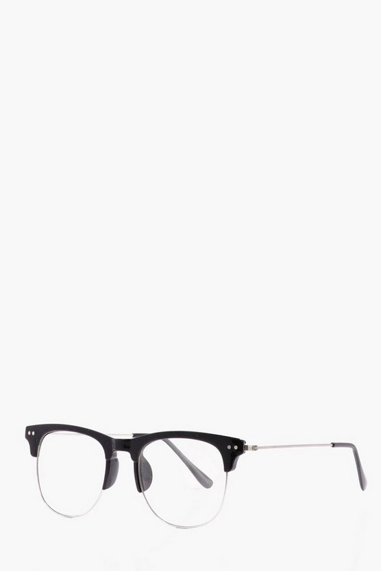 Black Frame Clear Lense Clubmaster Glasses