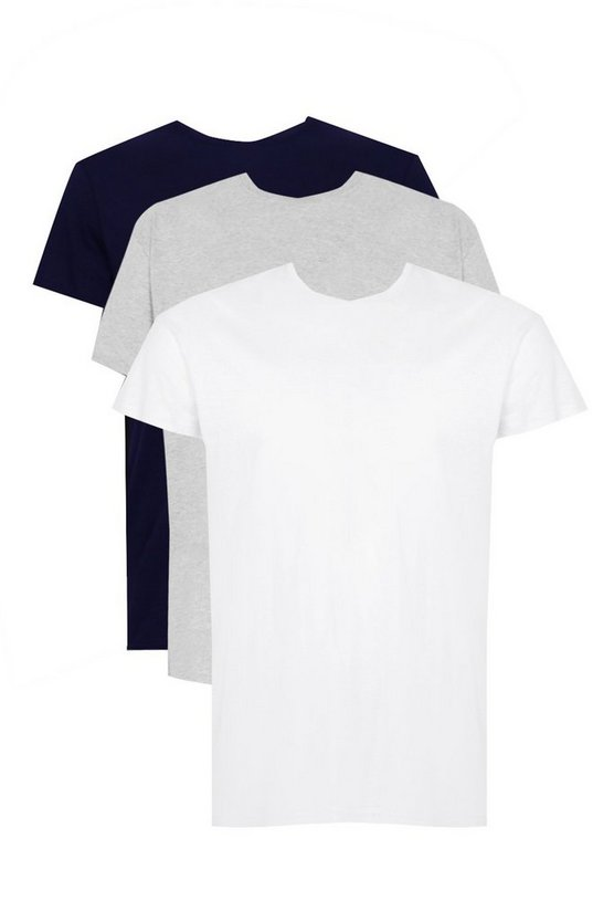 Big And Tall 3 Pack Basic Crew Neck T-Shirt