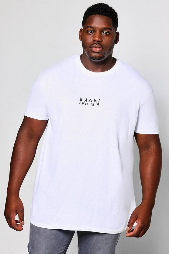 Big and Tall T-Shirt mit Man-Logo auf der Brust