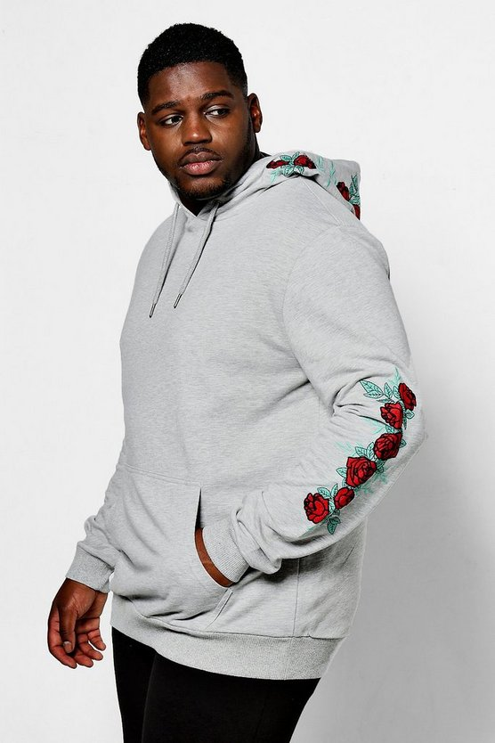 Big And Tall Rose Embroidered Hoodie