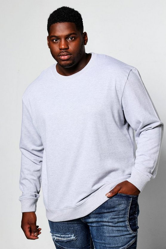 Big And Tall Basic Crew Neck Sweatshirt