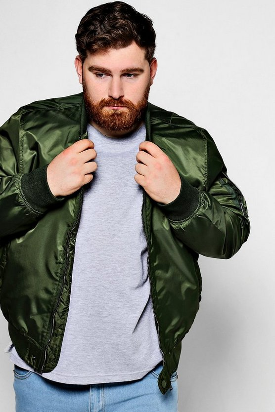Big And Tall Khaki Bomber Jacket