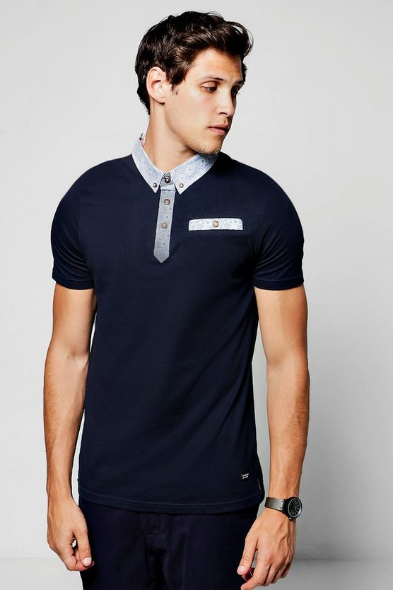 Jersey Polo T-Shirt With Printed Collar