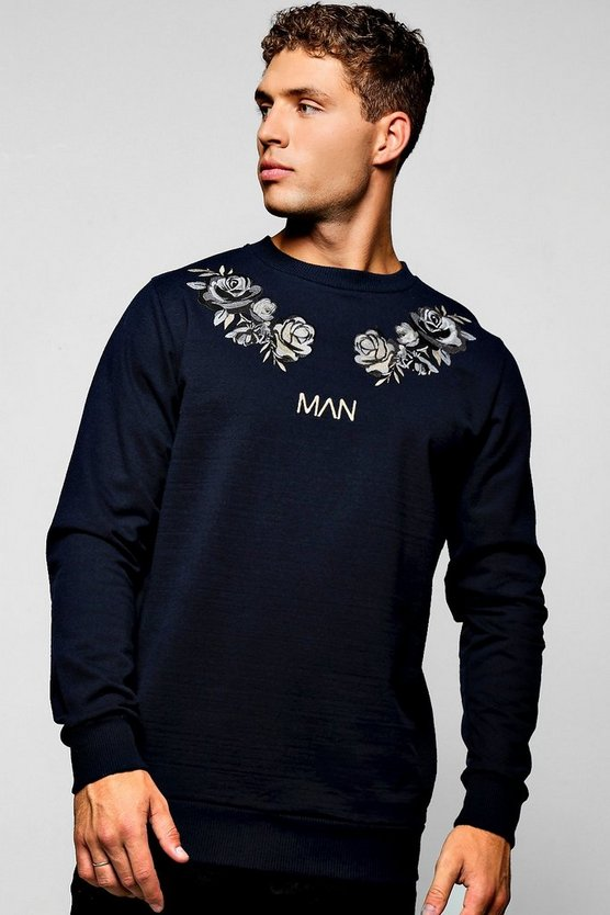 Man Flower Embroidered Sweater