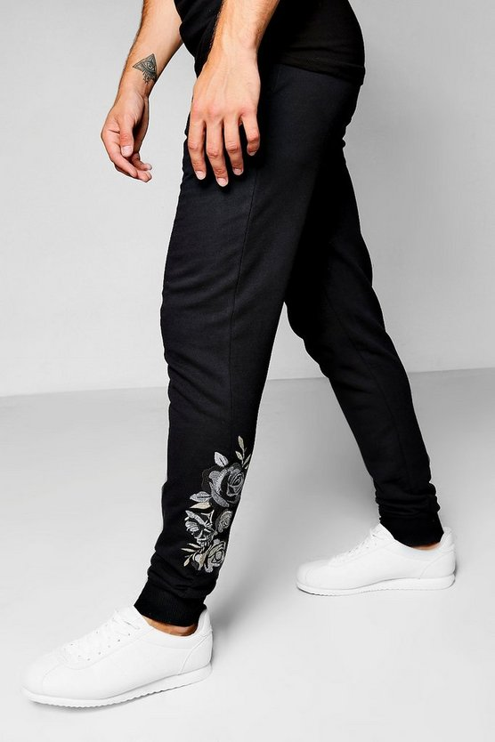 Skinny Fit Floral Embroidered Jogger