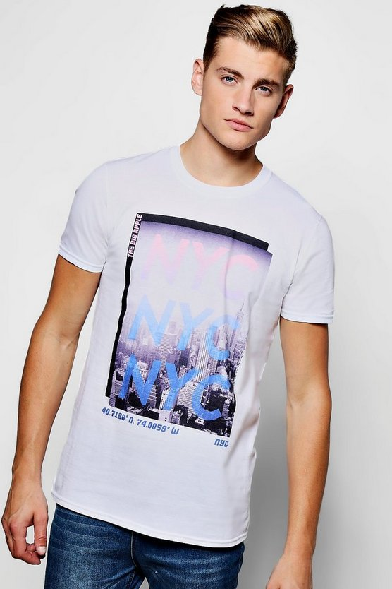 White Crew Neck NYC T-Shirt