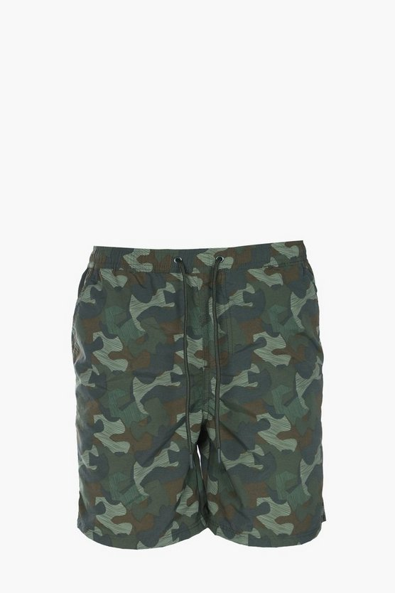 Camo Print Mid Length Swim Shorts