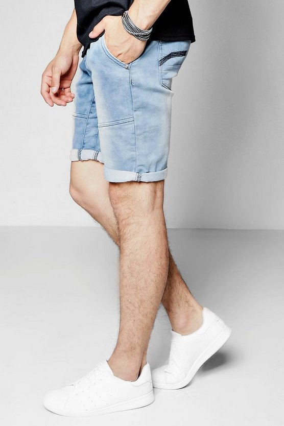 Blue Wash Denim Knit Shorts In Long Length