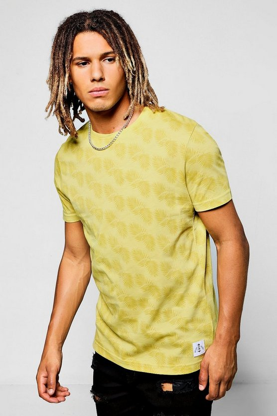 Crew Neck T-Shirt With Palm Print