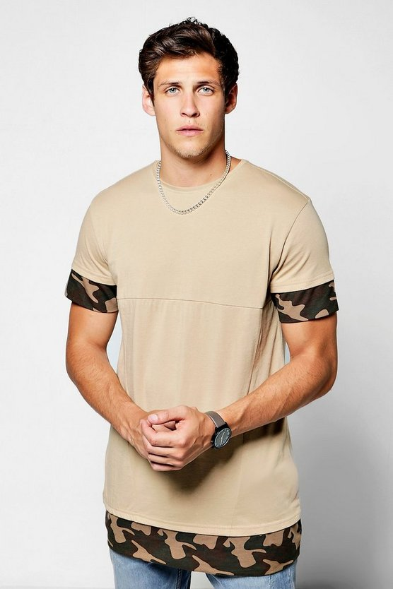 Longline Panel T-Shirt With Camo Sleeves
