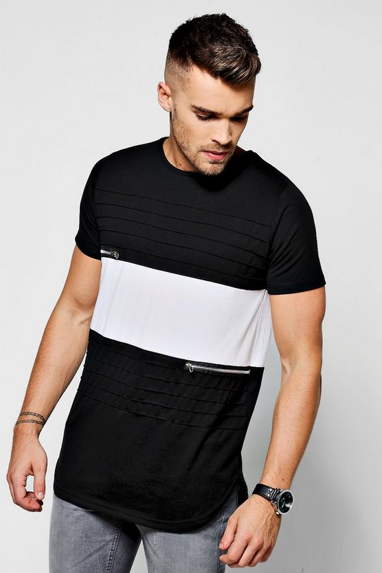 Colour Block Pleated T-Shirt