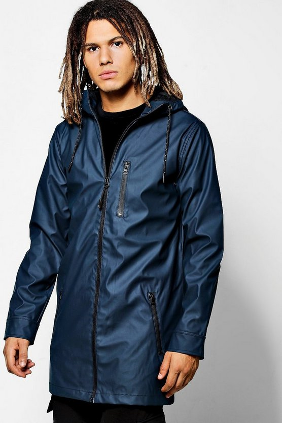 Navy Zip Through Rubberised Hooded Mac