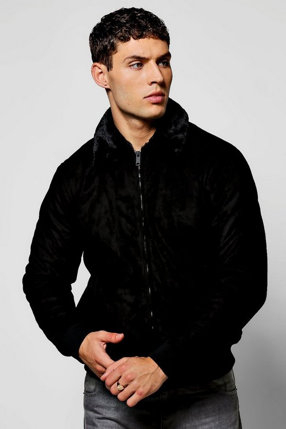 Black Faux Suede Harrington Jacket