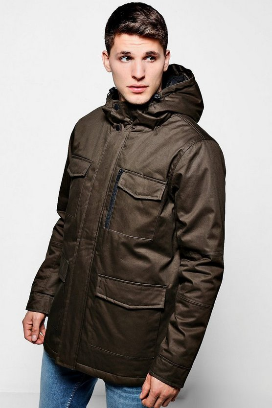 Khaki Coated Cotton Longline Field Jacket