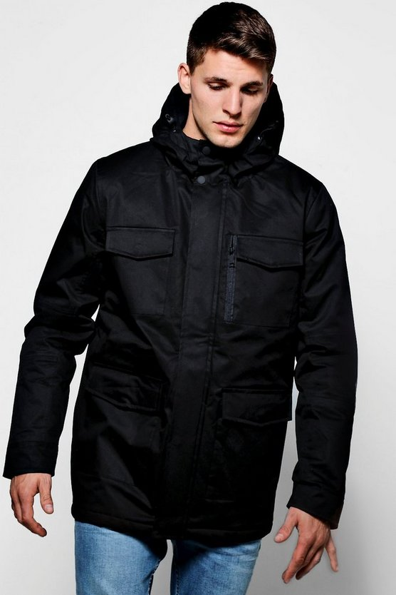 Black Coated Cotton Longline Field Jacket