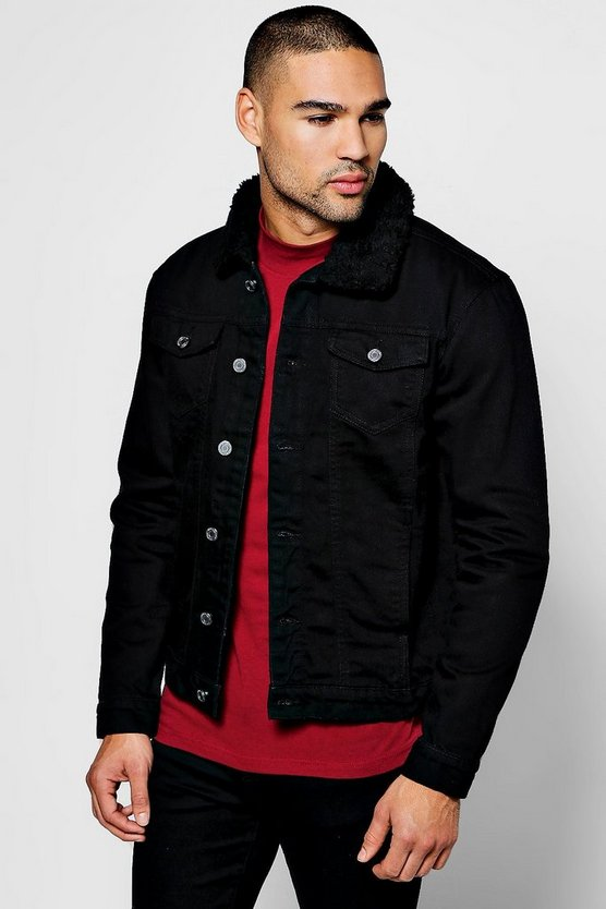 Black Regular Fit Borg Collar Denim Jacket