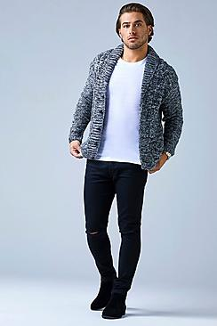Grey Heavy Gauge Shawl Neck Marl Cardigan