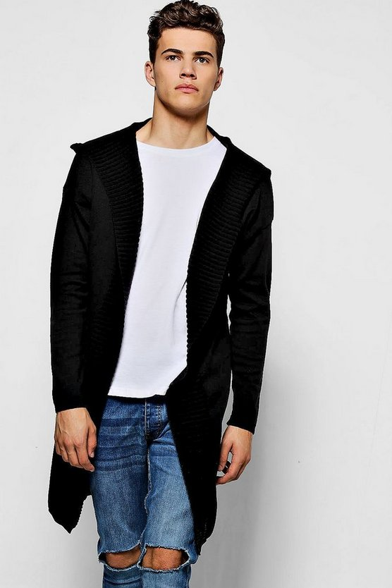 Longline Edge To Edge Fine Gauge Hooded Cardigan