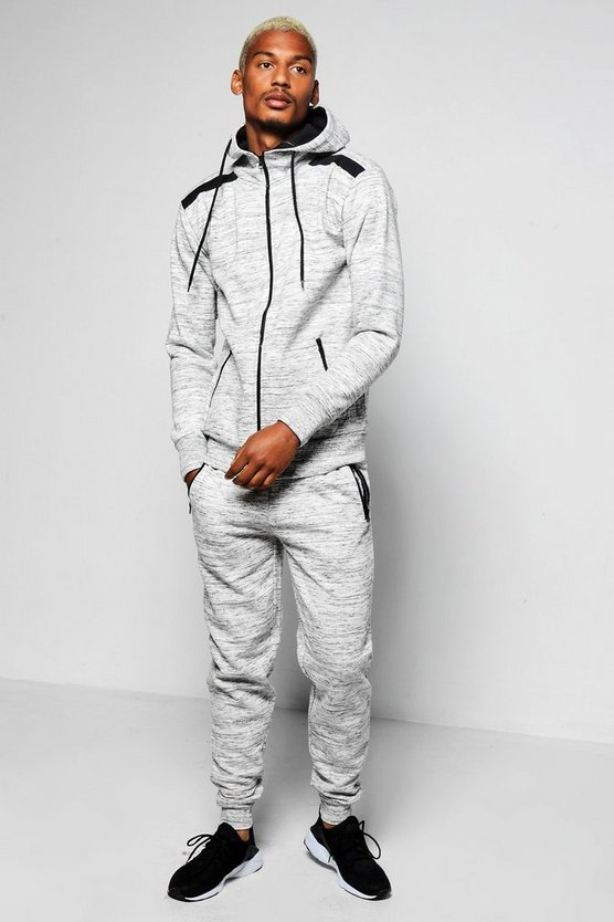 Skinny Fit Slub Hooded Tracksuit