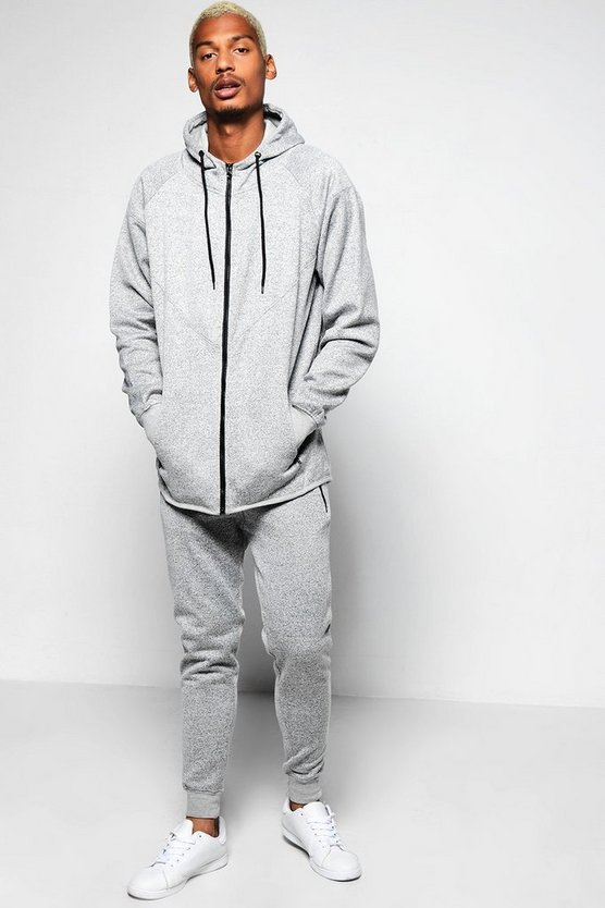 Skinny Fit Salt And Pepper Tracksuit
