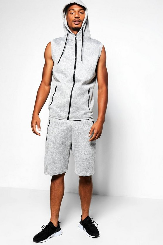 Sleeveless Slub Hooded Short Set