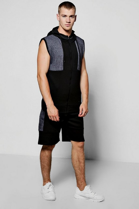 Sleeveless Slub Panel Hooded Short Set