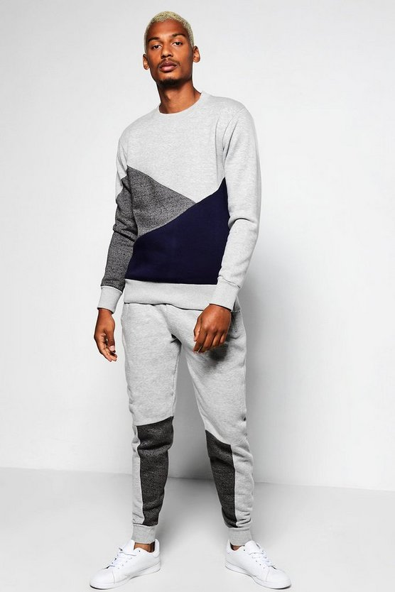 Spliced Sweater Tracksuit
