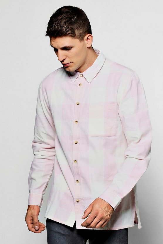 Pink Tonal Check Long Sleeve Shirt